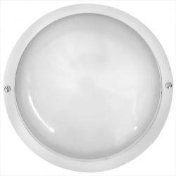 Φωτιστικό απλίκα στρογγυλή πλαστική λευκή με μάτ γυαλί (ντουί ε27) sku : 13-0040