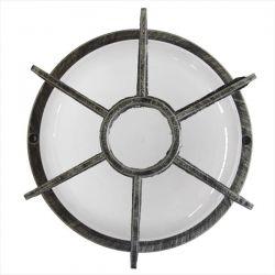 Φωτιστικό απλίκα στρογγυλή πλαστική silver με πλέγμα & μάτ γυαλί (ντουί ε27) sku : 13-0052