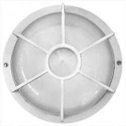 Φωτιστικό απλίκα στρογγυλή πλαστική λευκή με πλέγμα & μάτ γυαλί (ντουί ε27) sku : 13-0041