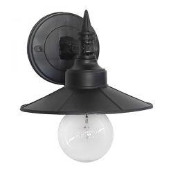 Φωτιστικό απλίκα επίτοιχη πλαστική Heronia Lighting μονόφωτη μαύρη Ø 180mm (ντουί ε27) sku : 07-1219
