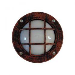 Φωτιστικό πλαφονιέρα στεγανή ip44 επίτοιχη στρογγυλή χάλκινη με πλέγμα πλαστική (ντουί gx53-g9) sku : 13-0073