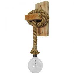 Φωτιστικό απλίκα μονόφωτη ξύλινη με τριχιά 450mm με ντουί Ε27 σειρά wood rope sku : 31-0220