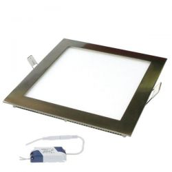 Led panel nikel mat τετράγωνο χωνευτό 3watt 230V θερμό λευκό φως 3000k 120° 210lumen sku: LPL-01027