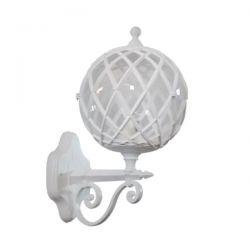 Φωτιστικό απλίκα τοίχου Heronia Lighting μονόφωτη πλέγμα λευκή πλαστική στεγανή ip23 με ντουί Ε27 sku: 07-1268