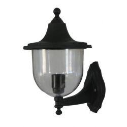 Φωτιστικό απλίκα τοίχου Heronia Lighting μονόφωτη μαύρη πλαστική στεγανή ip23 με ντουί Ε27 sku: 07-1119