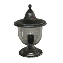 Φωτιστικό κολωνάκι Heronia Lighting μονόφωτο ασημί πατίνα πλαστικό στεγανό ip23 με ντουί Ε27 sku: 10-0217