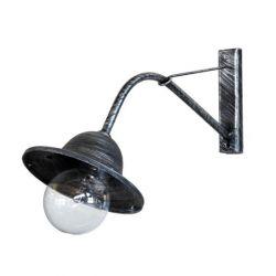 Φωτιστικό απλίκα τοίχου Heronia Lighting μονόφωτη ασημί πατίνα πλαστική στεγανή ip23 με ντουί Ε27 sku: 32-0028