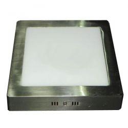 Led panel φωτιστικό επίτοιχο τετράγωνο nikel mat 12watt 230v ψυχρό λευκό φώς 6000Κ 960lumen sku: LPL-01163