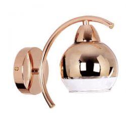 Φωτιστικό απλίκα μονόφωτη με γυαλί καθρέπτη χάλκινο στο επάνω μέρος του γλόμπου & ντουί E27 SKU: TNK81444CG1W