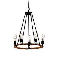 Φωτιστικό κρεμαστό πεντάφωτο σε σχήμα ρόδας Ø600mm μαύρο με σχοινί & ντουί Ε27 σειρά Vintage SKU: 853505PBR