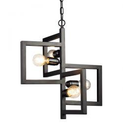 Φωτιστικό κρεμαστό τετράφωτο μαύρο διακοσμημένο με μεταλλικά τετράγωνα & ντουί Ε27 SKU: KS14254BK