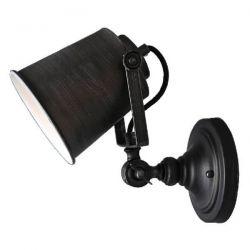 Φωτιστικό απλίκα μεταλλικό μαύρο με ασημί γραμμές & κινούμενη κεφαλή για λάμπες Ε27 σειρά Vinta sku: KS2125BS