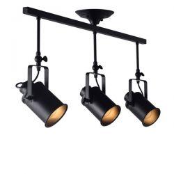 Φωτιστικό οροφής τρίφωτο μαύρο ματ σε ράγα με ρυθμιζόμενο βραχίονα & ντουί Ε27 σειρά Vintage SKU:  OD61013BK