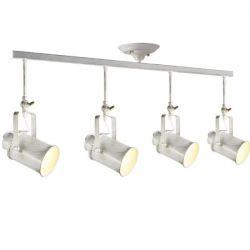 Φωτιστικό οροφής τετράφωτο λευκό πατίνα σε ράγα με ρυθμιζόμενο βραχίονα & ντουί Ε27 σειρά Vintage SKU:  OD61014AW