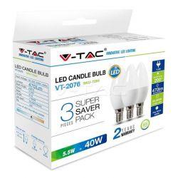 Λάμπα led v-tac κεράκι Ε14 5.5watt 230v/ac θερμό λευκό 2700Κ 470lumen SKU: 7263