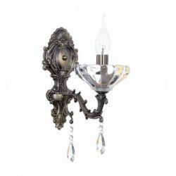 Φωτιστικό απλίκα μονόφωτο αντικέ μπρονζέ με διάφανα κρύσταλλα & ντουί Ε14 σειρά Elegant SKU: TNK854531W