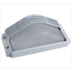 Φωτιστικό απλίκα τοίχου αλουμινίου ορθογώνια με κάλυπτρο στεγανή ip44 λευκή  για λάμπες Led E27