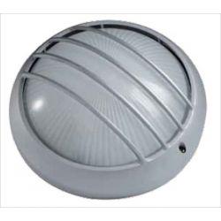 Φωτιστικό πλαφονιέρα αλουμινίου οροφής στρόγγυλη με γρίλιες στεγανή ip44 γκρί Φ 26 για λάμπες Led E27