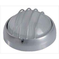 Φωτιστικό πλαφονιέρα αλουμινίου οροφής στρόγγυλη  με γρίλιες στεγανή ip44 γκρί  Φ 19 για λάμπες Led E27