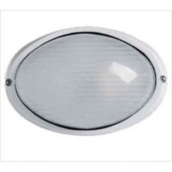 Φωτιστικό πλαφονιέρα αλουμινίου οροφής οβάλ στεγανή ip44 λευκή Φ21,5 για λάμπες Led E27