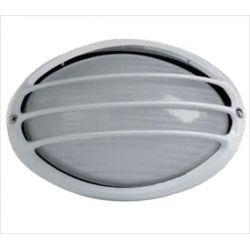 Φωτιστικό πλαφονιέρα αλουμινίου οροφής οβάλ με γρίλιες στεγανή ip44 μαύρη  Φ21,5 για λάμπες Led E27