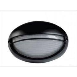 Φωτιστικό απλίκα αλουμινίου οβάλ με κάλυπτρο στεγανή ip44 μαύρη Φ21,5 για λάμπες Led E27