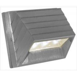 Led φωτιστικό επίτοιχο αλουμινίου κυρτό σατινέ 1watt με 12 led 230V στεγανό ip54 ψυχρό λευκό