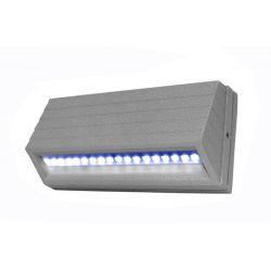Led φωτιστικό επίτοιχο αλουμινίου κυρτό γκρί 3.2watt με 18 led 230V στεγανό ip54 μπλέ φώς