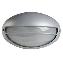 Φωτιστικό απλίκα αλουμινίου οβάλ με κάλυπτρο στεγανή ip44 γκρί  Φ21,5 για λάμπες Led E27