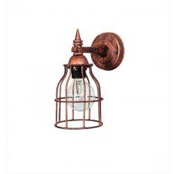 Φωτιστικό απλίκα κλουβί Heronia Lighting μονόφωτη ασημί (ντουί Ε27) σειρά vintage net Κωδικός : 31-0293