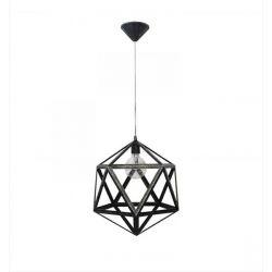 Φωτιστικό οροφής πολύγωνο Heronia Lighting μονόφωτο ασημί πατίνα με καλώδιο Ø 400mm (ντουί Ε27) σειρά polygono metal Κωδικός : 31-0574