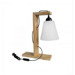 Φωτιστικό πορτατίφ λευκό καπέλο Heronia Lighting ξύλινο μονόφωτο (ντουί Ε27) σειρά frame wood  Κωδικός : 31-0405