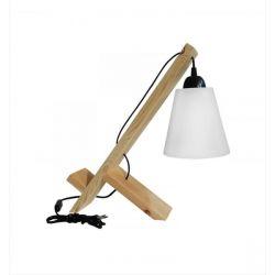 Φωτιστικό πορτατίφ λευκό καπέλο Heronia Lighting ξύλινο μονόφωτο (ντουί Ε27) σειρά frame wood ppb Κωδικός : 31-0406