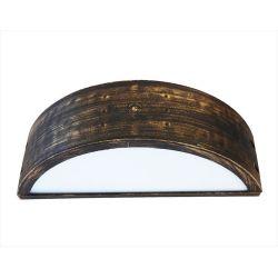 Φωτιστικό απλίκα διπλής κατεύθυνσης μπρονζέ πλαστική με μάτ γυαλί στεγανή ip23 (ντουί ε27) sku : 13-0083