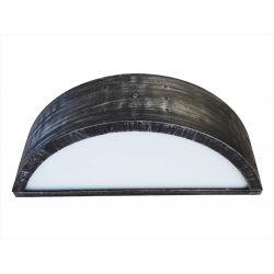 Φωτιστικό απλίκα διπλής κατεύθυνσης ασημί πλαστική με μάτ γυαλί στεγανή ip23 (ντουί ε27) sku : 13-0085