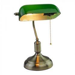 Φωτιστικό πορτατίφ πράσινο-μπρονζέ επιτραπέζιο γυάλινο με μεταλλικό βραχίονα & ντουί Ε27 (καλώδιο 1,5 μ) Κωδικός : 3912