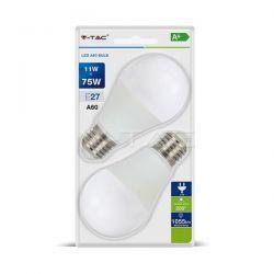 Λάμπα led v-tac αχλάδι Ε27 11watt 230v/ac φυσικό λευκό 4000Κ 1055lumen Κωδικός: 7298