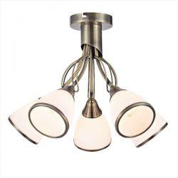 Φωτιστικό οροφής aca-decor πεντάφωτο μεταλλικό μπρονζέ-λευκό Ø 458mm & ντουί Ε14 Κωδικός : DLA12195PAB
