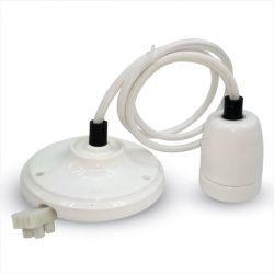 Φωτιστικό v-tac κρεμαστό μονόφωτο πορσελάνης  Ø 47 mm λευκό με ντουί Ε27 Κωδικός : 3803