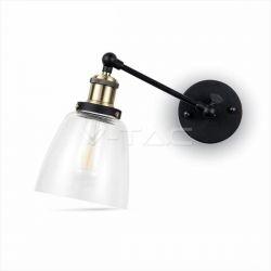 Φωτιστικό απλίκα v-tac Γυαλί & μέταλλο με Διάφανο Cone Shape (Μαύρο σώμα) Κωδικός : 3861