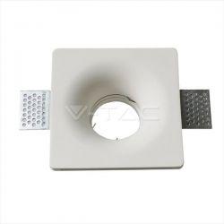 Φωτιστικό spot v-tac χωνευτό 120 x 120 x 45mm μονό λευκό τετράγωνο γύψινο για ντουί gu10 Κωδικός : 3674