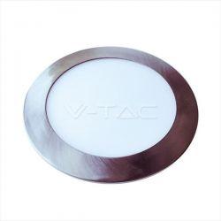 Led panel v-tac νίκελ-μάτ στρογγυλό χωνευτό 18watt 230V φυσικό λευκό φως 4000k 120° 1500lumen Κωδικός: 6350