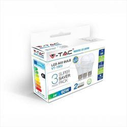 Λάμπα led v-tac αχλάδι Ε27 9watt 230v/ac ψυχρό λευκό 6400Κ 806lumen (blister 3 τεμ) Κωδικός: 7242