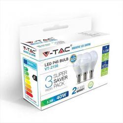 Λάμπα led v-tac σφαιρική g45 Ε14 5.5watt 230v/ac ψυχρό λευκό 6400Κ 470lumen Blister 3 τμχ Κωδικός: 7359