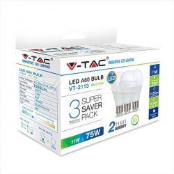 Λάμπα led v-tac αχλάδι Ε27 11watt 230v/ac ψυχρό λευκό 6400Κ 1055lumen (blister 3 τεμ) Κωδικός: 7354