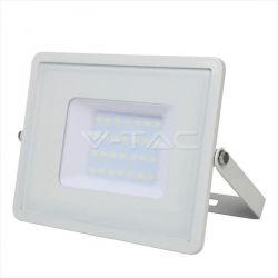 Προβολέας led v-tac με samsung chip 30w 230v λευκό σώμα φυσικό λευκό 4000Κ 2400lm Κωδικός: 404