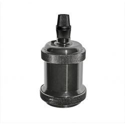 Διακοσμητικό ντουί Ε27 γραφίτης (black chrome) αλουμινίου με σπείρωμα για ροδέλα τύπου M10(1/8'') Κωδ: 16-1636182