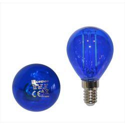 Διακοσμητική λάμπα led G45 Ε14 2W μπλε ceramic filament 230V σφαιρική Κωδ: 13-14024