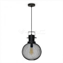 Κρεμαστό φωτιστικό v-tac μεταλλική μπάλα μαύρή 290mm με ντουί Ε27 Κωδ: 3859