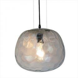 Κρεμαστό φωτιστικό  v-tac γυάλινο διάφανο-χρώμιο σώμα 300mm με ντουί Ε27 Κωδ: 3883